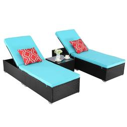 HTTH 3 PCS Outdoor Chaise Lounge Cushioned Chair Set Wicker