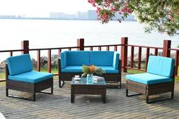 4 PCS All-Weather Rattan Wicker Sofa Set Sectional Couch Lou