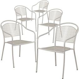 5 Pk. Silver Indoor-Outdoor Steel Patio Arm Chair with Round