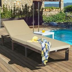 Adjustable Outdoor Chaise Lounge Chair With Beige Cushion Pa