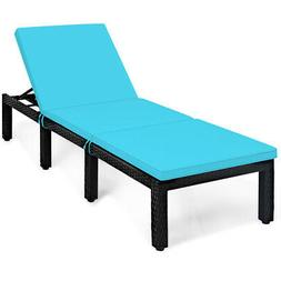 Giantex Adjustable Outdoor Patio Rattan Lounge Chair Chaise