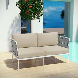 Aluminum Modern Outdoor Patio Cushioned Lounge Loveseat in W