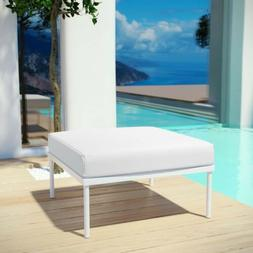 Aluminum Modern Outdoor Patio Cushioned Lounge Ottoman in Wh