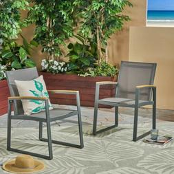 Aubrey Outdoor Mesh Dining Chairs with Aluminum Frame , Gray