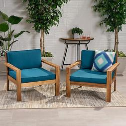 Ben Outdoor Acacia Wood Club Chairs with Cushions , Teak
