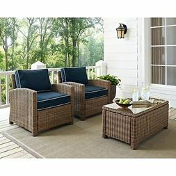 Biltmore 2 PC OutDr Wicker Seating Set w/Navy Cushions & Two