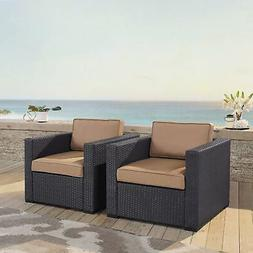Biscayne Mocha Wicker Outdoor Seating Chairs  Brown 2-Piece
