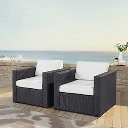 Biscayne White Wicker Outdoor Arm Chairs  White 2-Piece Sets