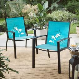 Coral Coast Darci Patio Sling Chair with Flower Print - Set