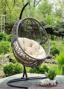 Giant Big Hanging Egg Chair With Stand Pad Wicker Hammock Ou