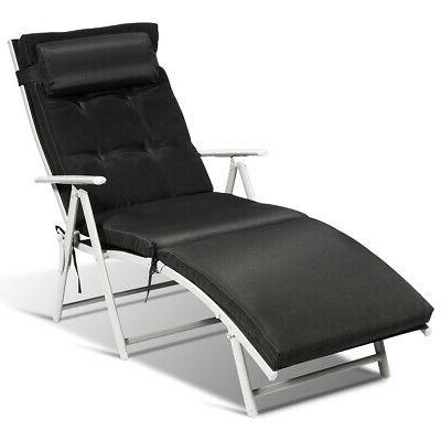 Outdoor Folding Chaise Lounge Chair Recliner with Cushion &