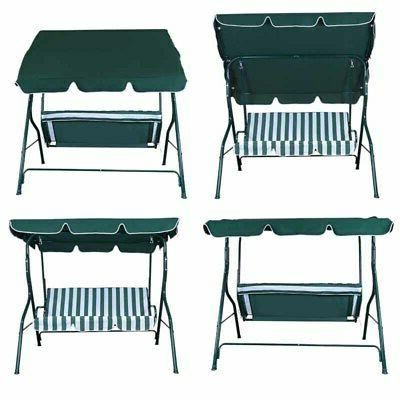 Outdoor Canopy Chair 3-Person Seats Hammock Porch Steel