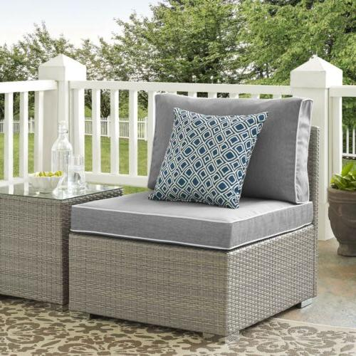 Outdoor Patio Furniture Wicker Rattan Sectional Armless Chair