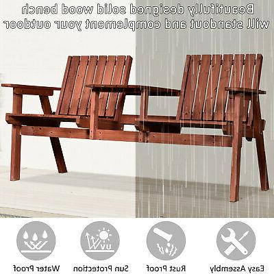 Outsunny Outdoor Tete a Tete Bench Chair Wooden Table