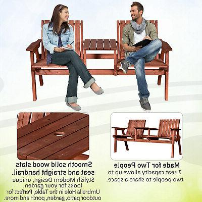 Outsunny a Tete Loveseat Bench Chair Wooden Table