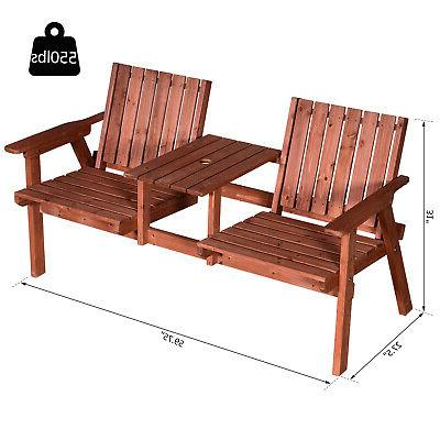 Outsunny a Loveseat Garden Bench with Table