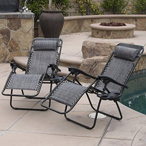 Belleze Premium Chairs Zero Gravity Folding Recliner and Drink of 2, Gray