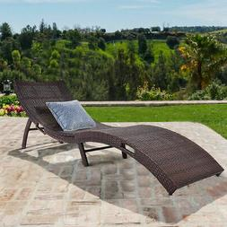 Mix Brown Folding Patio Rattan Chaise Lounge Chair Outdoor F