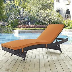 Orange Resin Wicker Chaise Patio Lounge Seating Outdoor Home