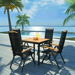 vidaXL Outdoor Dining Set Table Chairs 5 Piece WPC Folding G