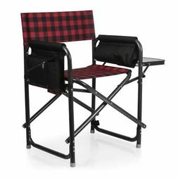 Picnic Time Outdoor Directors Chair, Red & Black Buffalo Pla