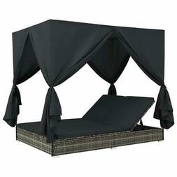 Outdoor Lounge Bed double sun lounger with Curtains Poly Rat