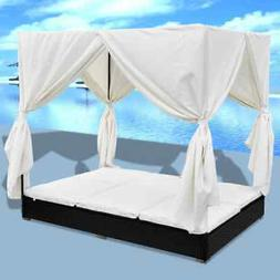 vidaXL Outdoor Lounge Bed with Curtains Poly Rattan Bed Curt