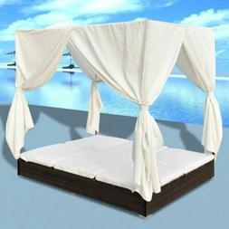 Outdoor Lounge Bed with Curtains Poly Rattan Brown