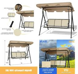 Outdoor Patio Porch Swing 3 Person Bench Chair with Canopy B