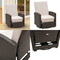 Outsunny Outdoor Rattan Wicker Swivel Recliner Lounge Chair