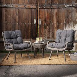 Outdoor Wicker 3 Piece Chat Set Chairs Table Cushions Patio