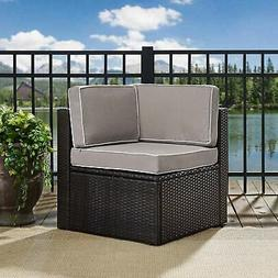 Palm Harbor Outdoor Wicker Corner Chair in Brown with Grey B