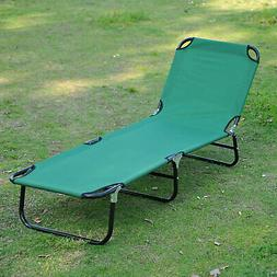 Patio Foldable Chaise Lounge Chair Outdoor Camping Cot Sun R