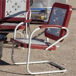 Retro Metal Lawn Chairs Armchair Red Outdoor Vintage Patio G