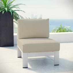 Modway Shore Armless Outdoor Patio Aluminum Chair in Silver