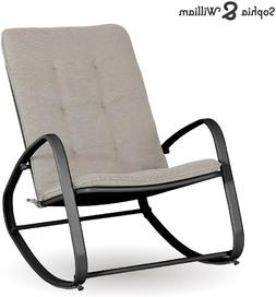 Sophia and William Outdoor Patio Rocking Chair, Black Frame