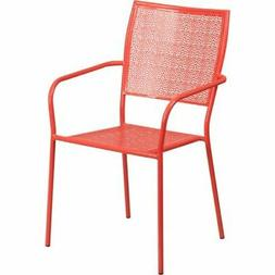 Flash Furniture Stackable Steel Square Back Patio Dining Sid